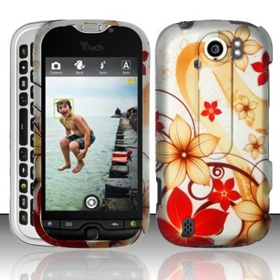 Hard Plastic Rubber Feel Design Case for HTC Mytouch Slide 4G - Red and Gold Flowers