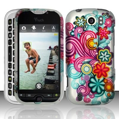 Hard Plastic Rubber Feel Design Case for HTC Mytouch Slide 4G - Purple and Blue Flowers