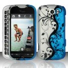 Hard Plastic Rubber Feel Design Case for HTC Mytouch Slide 4G - Silver and Blue Vines