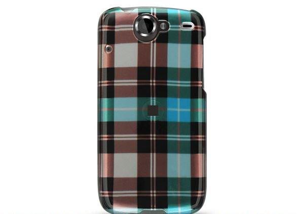Hard Plastic Design Case for HTC Google Nexus One - Blue Check