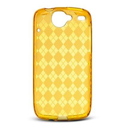 Crystal Gel Check Design Skin Case for HTC Google Nexus One - Orange