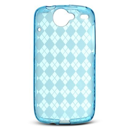 Crystal Gel Check Design Skin Case for HTC Google Nexus One - Blue