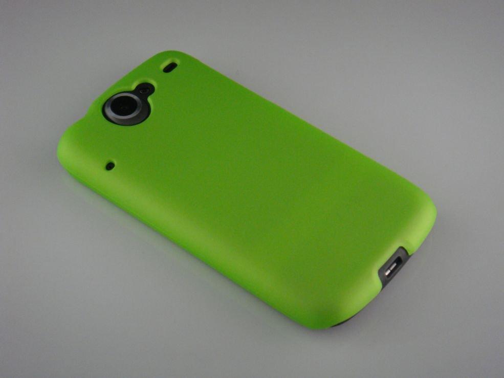 Hard Plastic Rubber Feel Back Cover Case for HTC Google Nexus One - Neon Green