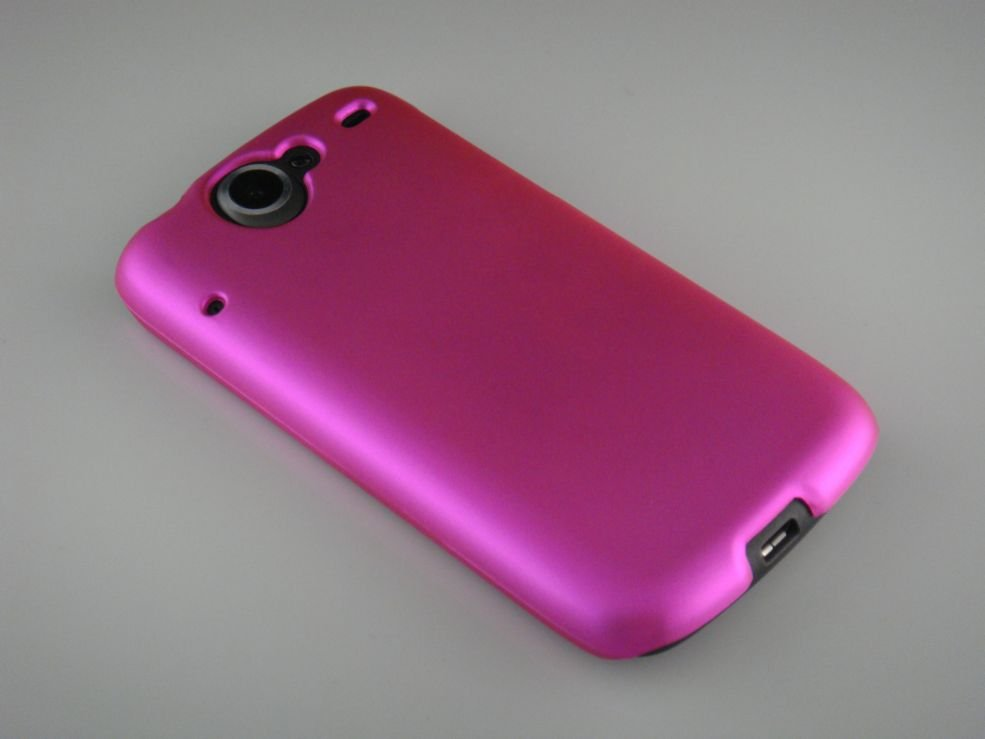 Hard Plastic Rubber Feel Back Cover Case for HTC Google Nexus One - Hot Pink