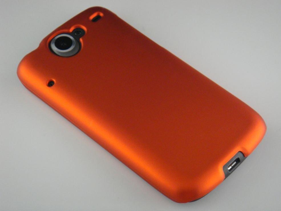 Hard Plastic Rubber Feel Back Cover Case for HTC Google Nexus One - Orange