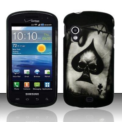 Hard Plastic Rubber Feel Design Case for Samsung Stratosphere i405 - Ace of Spade Skull