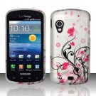Hard Plastic Rubber Feel Design Case for Samsung Stratosphere i405 - Silver and Pink Flowers