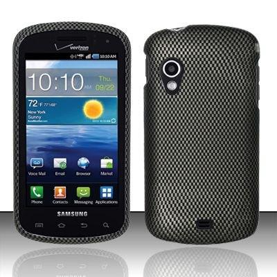 Hard Plastic Rubber Feel Design Case for Samsung Stratosphere i405 - Carbon Fiber