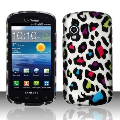 Hard Plastic Rubber Feel Design Case for Samsung Stratosphere i405 - Rainbow Leopard