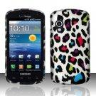 Hard Plastic Rubber Feel Design Case for Samsung Stratosphere i405 - Rainbow Leopard