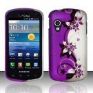 Hard Plastic Rubber Feel Design Case for Samsung Stratosphere i405 - Silver and Purple Vines