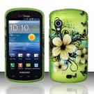 Hard Plastic Rubber Feel Design Case for Samsung Stratosphere i405 - Green Flowers and Butterfly