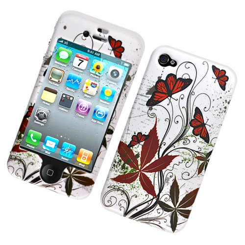 Hard Plastic Rubber Feel Design Case for Apple iPhone 4/4S - Multiple Butterfly