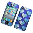 Hard Plastic Rubber Feel Design Case for Apple iPhone 4/4S - Elegance Blue Hearts