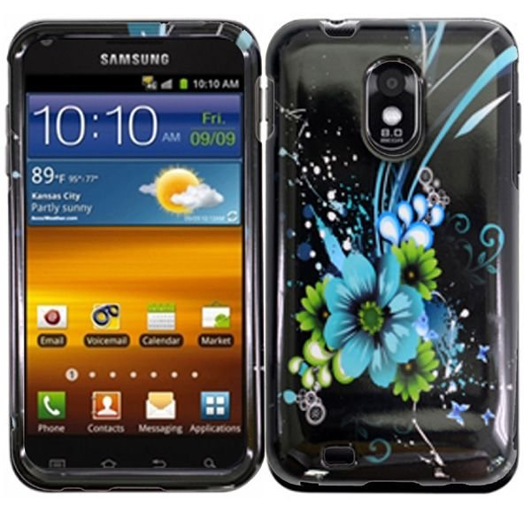 Hard Plastic Design Case for Samsung Galaxy S II Epic 4G Touch - Black and Blue Flower