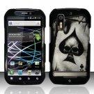Hard Plastic Rubber Feel Design Case for Motorola Photon 4G - Ace of Spade Skull