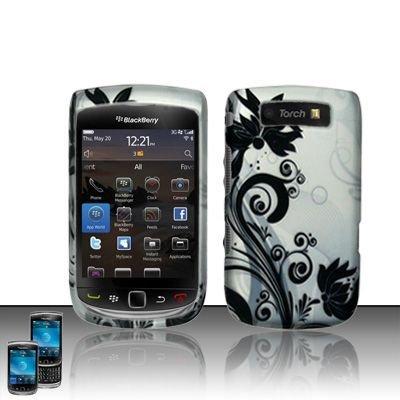 Hard Plastic Rubber Feel Design Case for Blackberry Torch 9800 - Silver and Black Vines
