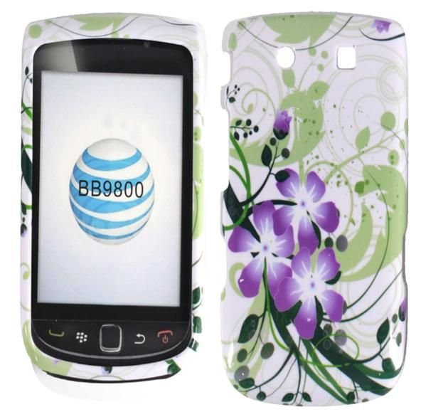 Hard Plastic Design Case for Blackberry Torch 9800 - Green and Purple Lily