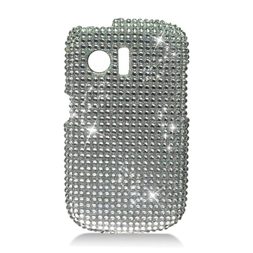 Hard Plastic Bling Rhinestone Design Case for Huawei Pinnacle M635/Pillar M615 - Silver