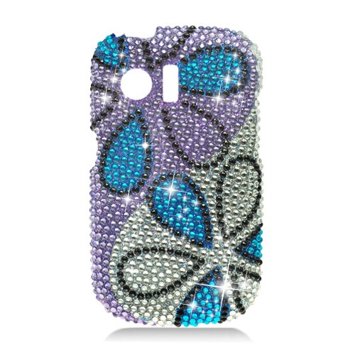 Hard Plastic Bling Rhinestone Design Case for Huawei Pinnacle M635/Pillar M615 - Colorful Flowers