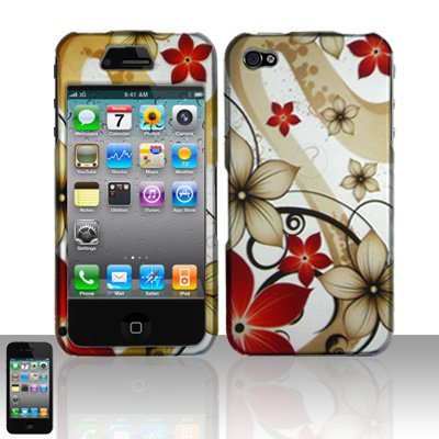 Hard Plastic Rubber Feel Design Case for Apple iPhone 4/4S - Red and Gold Flowers