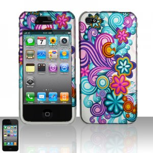 Hard Plastic Rubber Feel Design Case for Apple iPhone 4/4S - Purple and Blue Flowers