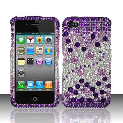 Hard Plastic Bling Rhinestone Design Case for Apple iPhone 4/4S - Purple and Silver