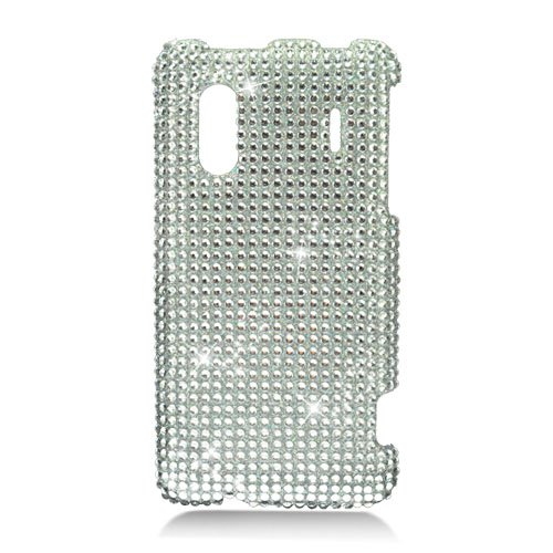 Hard Plastic Bling Rhinestone Design Case for HTC Evo Design 4G/Kingdom - Silver