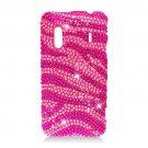 Hard Plastic Bling Rhinestone Design Case for HTC Evo Design 4G/Kingdom - Hot Pink Zebra