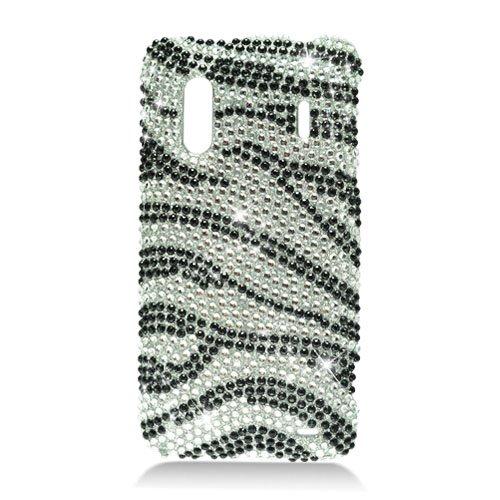 Hard Plastic Bling Rhinestone Design Case for HTC Evo Design 4G/Kingdom - Silver and Black Zebra