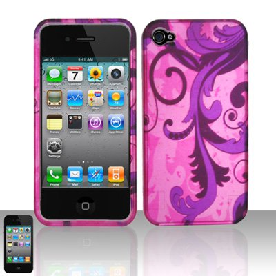 Hard Plastic Rubber Feel Design Case for Apple iPhone 4/4S - Purple Vines