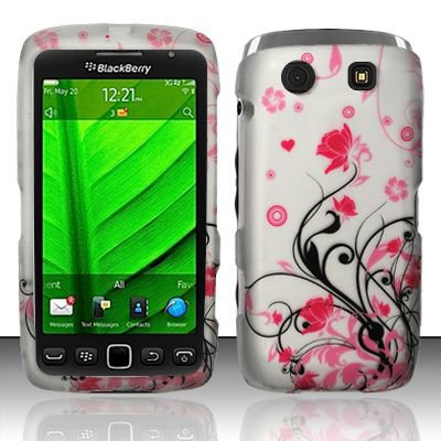Hard Plastic Rubber Feel Design Case for Blackberry Torch 9850/9860 - Silver and Pink Flowers