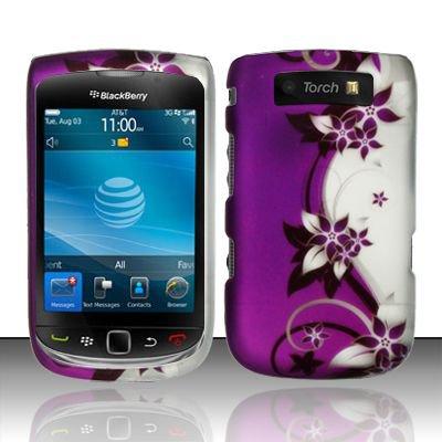 Hard Plastic Rubber Feel Design Case for Blackberry Torch 9800 - Silver and Purple Vines