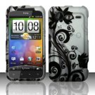 Hard Plastic Rubber Feel Design Case for HTC Incredible 2 6350 - Silver and Black Vines