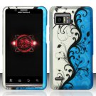 Hard Plastic Rubber Feel Design Case for Motorola Droid Bionic Targa XT875 - Silver and Blue Vines