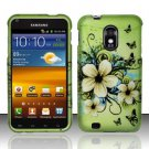Hard Plastic Rubber Feel Design Case for Samsung Galaxy S II Epic 4G Touch - Green Flowers Butterfly