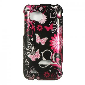 Hard Plastic Design Cover Case for HTC Rezound 6425 - Pink Butterfly