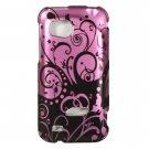 Hard Plastic Design Cover Case for HTC Rezound 6425 - Black and Purple Swirls