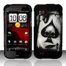 Hard Plastic Rubber Feel Design Case for HTC Rezound 6425 - Ace of Spade Skull