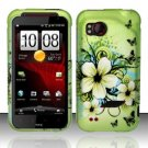 Hard Plastic Rubber Feel Design Case for HTC Rezound 6425 - Green Flowers and Butterfly
