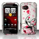 Hard Plastic Rubber Feel Design Case for HTC Rezound 6425 - Silver and Pink Flowers