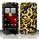 Hard Plastic Rubber Feel Design Case for HTC Rezound 6425 - Golden Cheetah