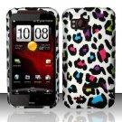 Hard Plastic Rubber Feel Design Case for HTC Rezound 6425 - Rainbow Leopard
