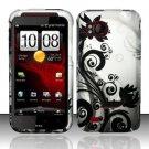 Hard Plastic Rubber Feel Design Case for HTC Rezound 6425 - Silver and Black Vines