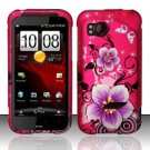Hard Plastic Rubber Feel Design Case for HTC Rezound 6425 - Hot Pink Flowers and Butterfly