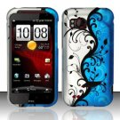 Hard Plastic Rubber Feel Design Case for HTC Rezound 6425 - Silver and Blue Vines