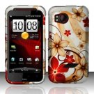 Hard Plastic Rubber Feel Design Case for HTC Rezound 6425 - Red and Gold Flowers