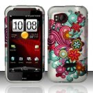 Hard Plastic Rubber Feel Design Case for HTC Rezound 6425 - Purple and Blue Flowers