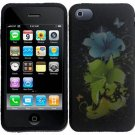 Hard Plastic Rubber Feel Design Case for Apple iPhone 4/4S - Magical Flowers