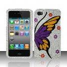 Hard Plastic Bling Rhinestone Design Case for Apple iPhone 4/4S - Purple Wing